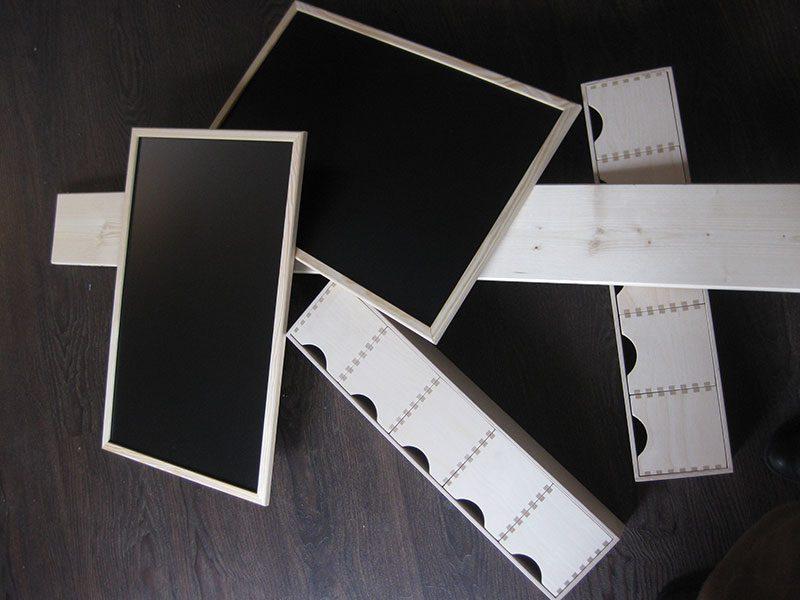 DIY Materialien für Monitorumbau, Schreibtafel Schubladenboxen und Bretter