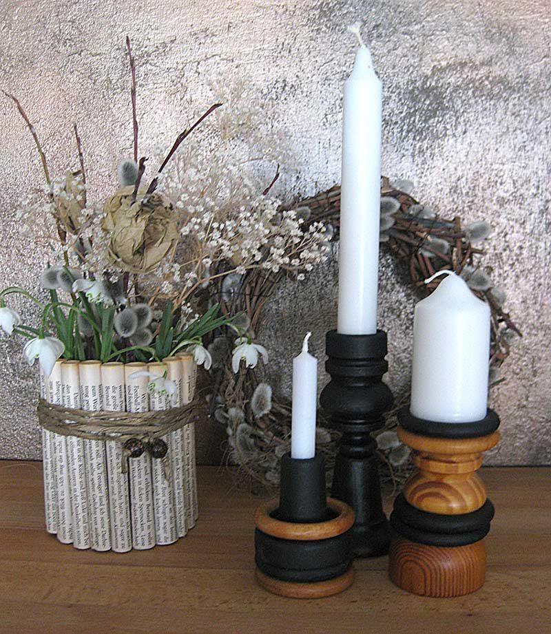 Upcycling - DIY drei Kerzenhalter aus Gardinenringe