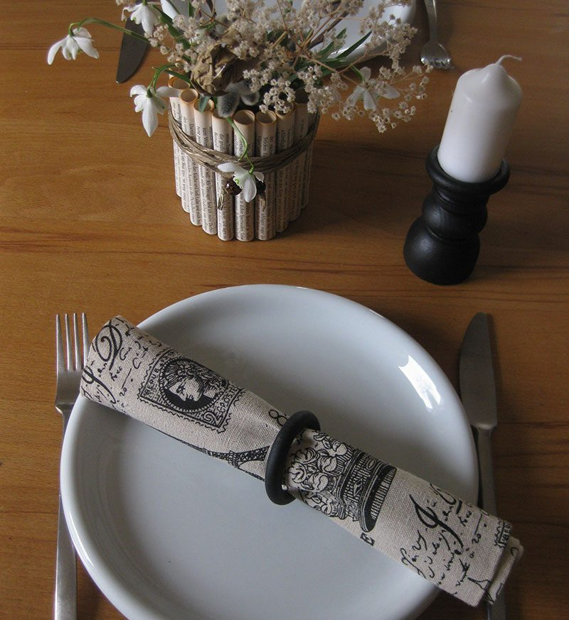 Upcycling -Serviettenhalter und Kerzenständer aus Gardinenringe
