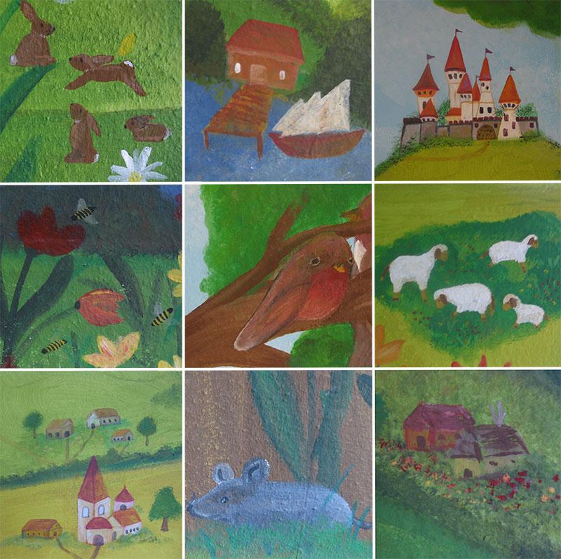 Bildausschnitte-der-Wandmalerei im Kinderzimmer