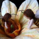Große Filzblüte mit gefilzten Bienen
