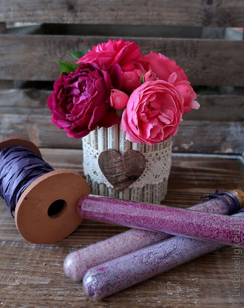 DIY Vase und gefärbter Zucker