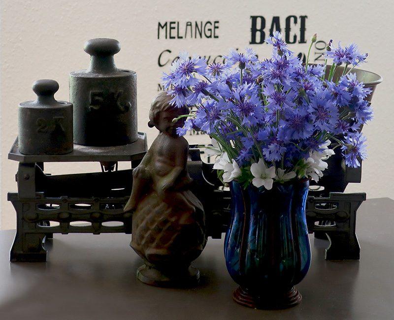 Vase mit blauen Kornblumen