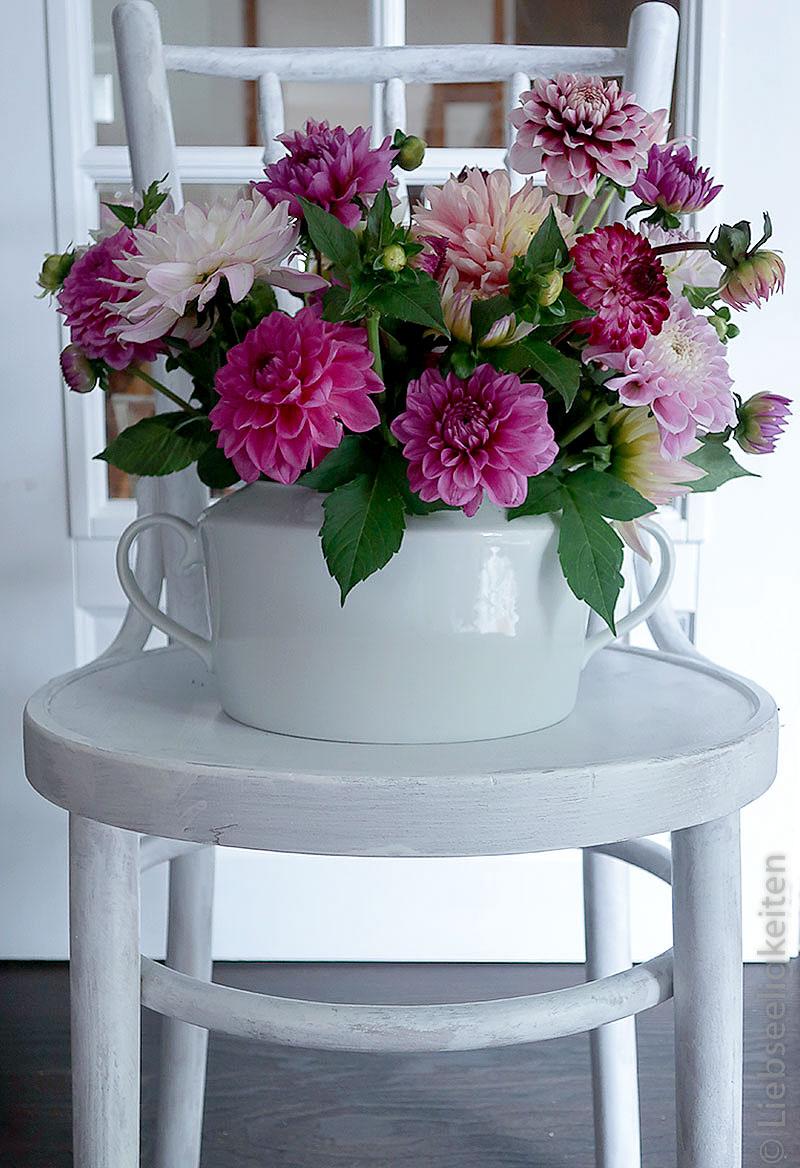 Dahlien-Blumenstrauß-Thonetstuhl