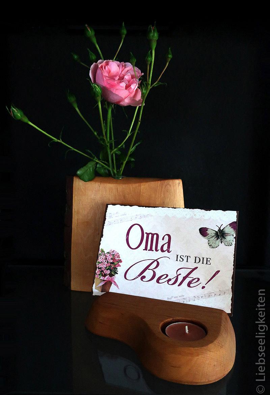Rose - Rosenzweig - Vase mit Rosen - Grußkarte für die Oma - Oma ist die Beste
