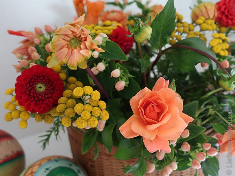 Blumenstrauß - Dahlien - Rosen - Rainfarn