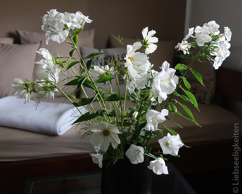 weißer Blumenstrauß - Cosmea - Glockenblumen - Phlox