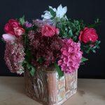Herbststrauß - Rosen, Fette Henne und Hortensien