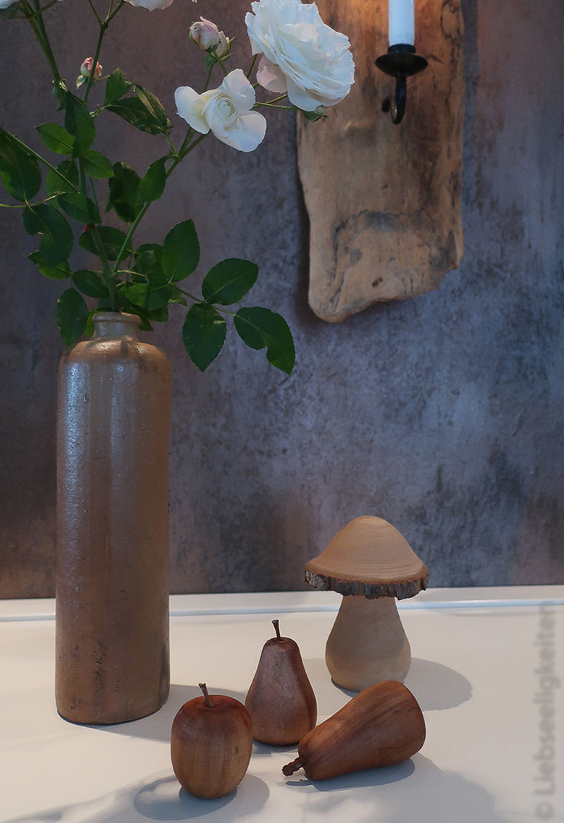 Blumenvase - Holzfrüchte - Deko - Holzpilz