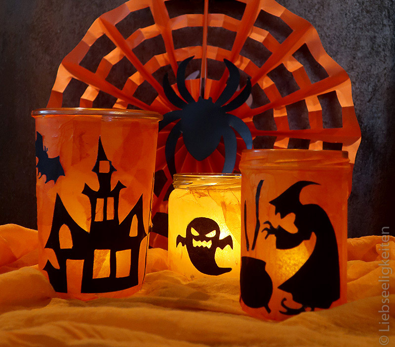 Windlichter mit Halloweenmotiv - Basteln - Halloween - DIY