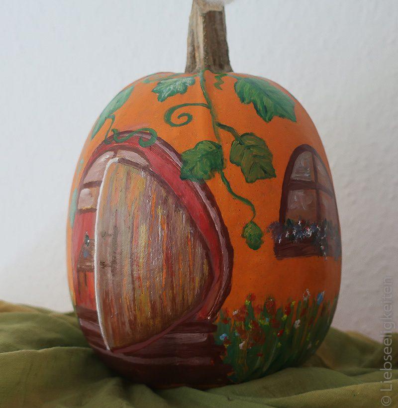 bemalter Kürbis- kürbishaus -pumpkinhouse -