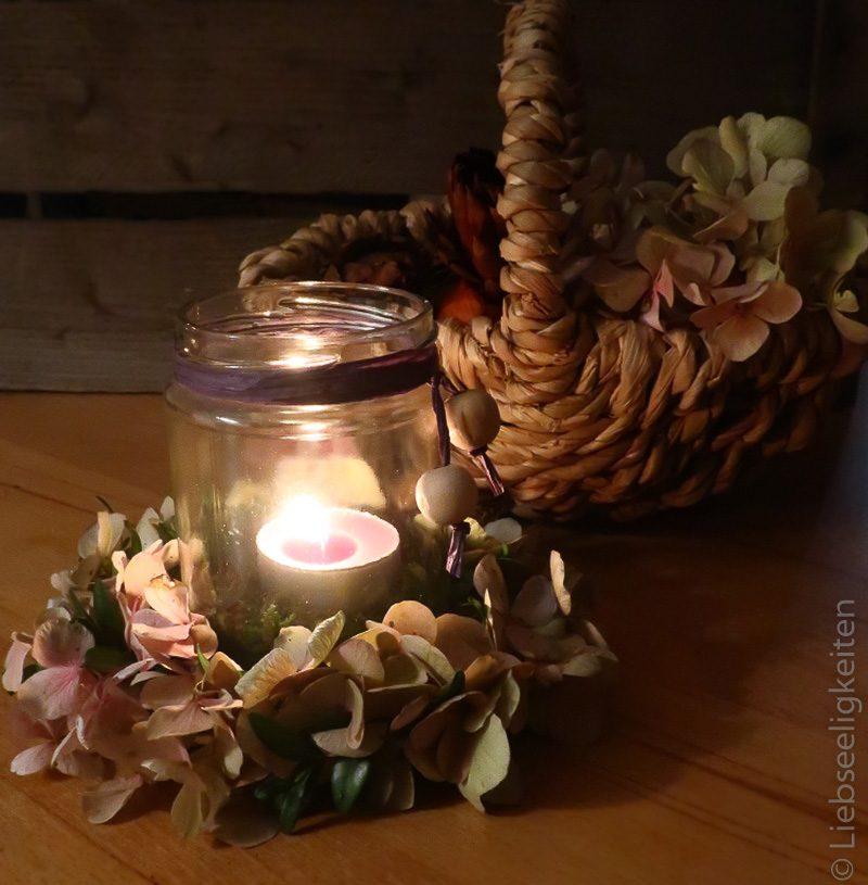 diy - windlicht - herbst - hortensien - herbstkranz