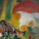 wollbild - filzen - pilz und kröte - filzbild aus Märchenwolle - julia scholzen-gnad