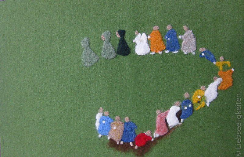wollbild - filzen - wurzelkinder - filzbild aus Märchenwolle - sibylle v. olfers