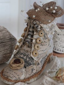 DIY - nikolausstiefel - shabby chic - upcycling - alter schuh - basteln