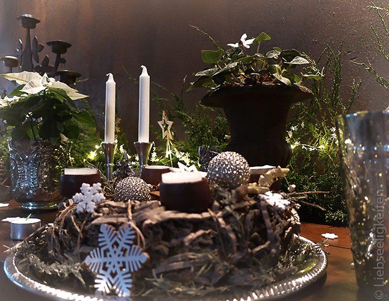 weihnachtsdeko - Adventskranz - silberne weihnachtsdekoration