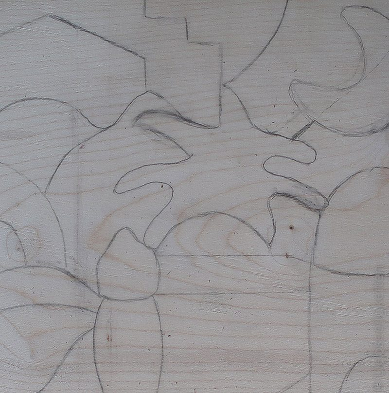 Skizze für Holzarbeit mit der Dekuoiersäge