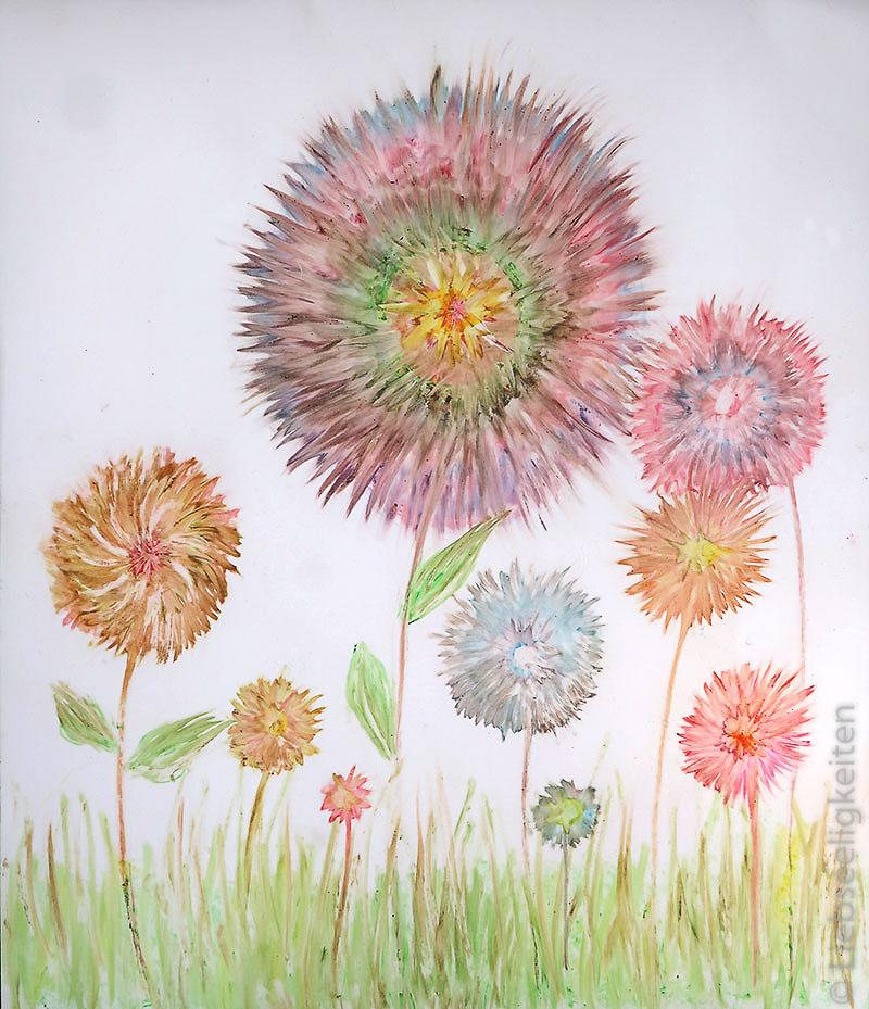 Frühlingsblumen - Kinderkunst mit Wachsmalstiften