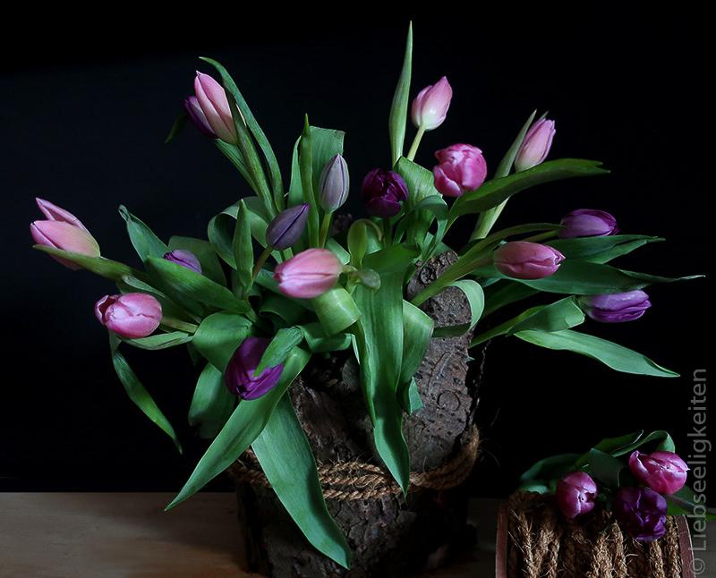 Tulpen - Blumenstrauß - Liebseeligkeiten - Tulpen in der Vase - Tischdeko