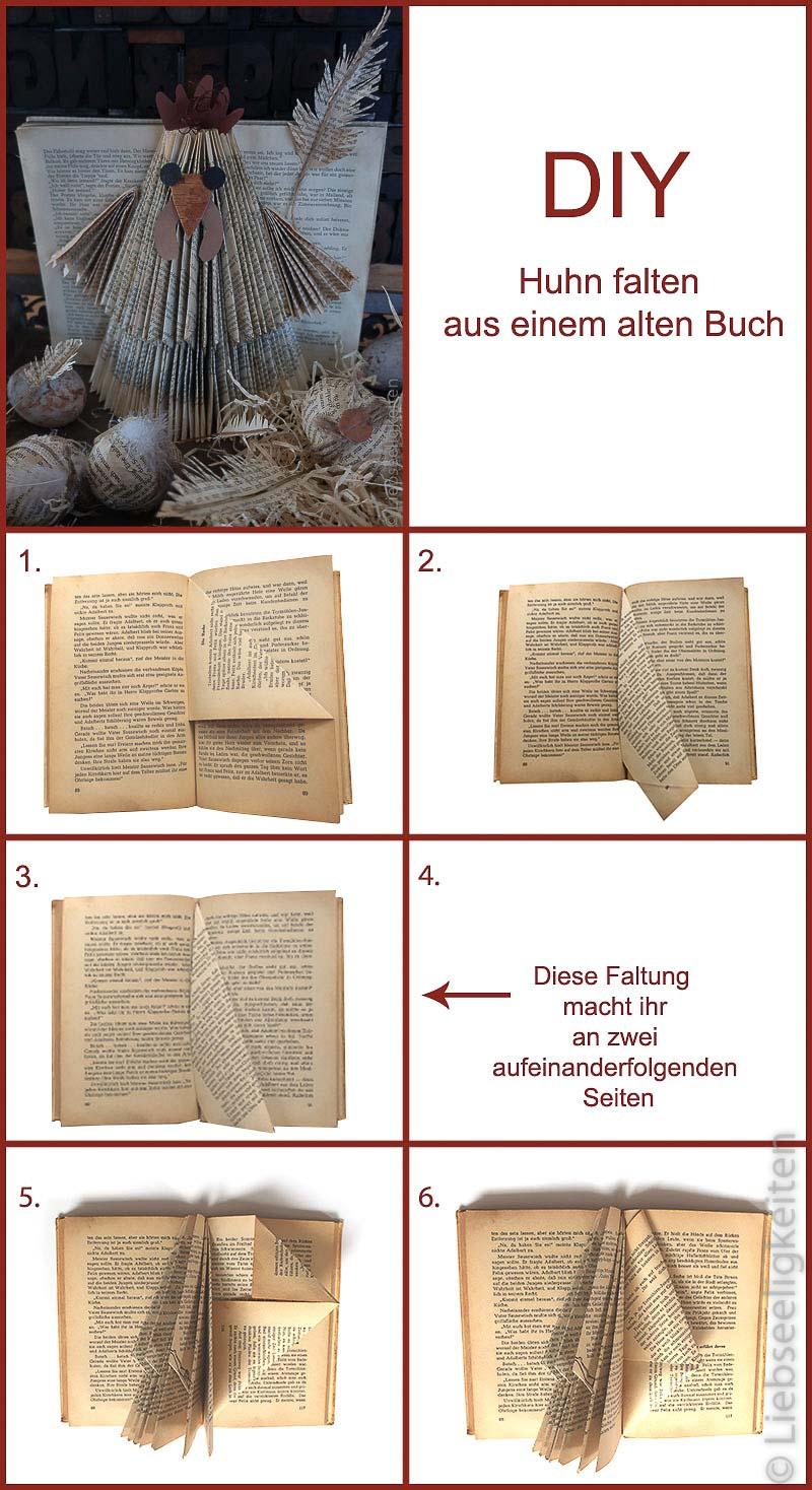 DIY -Huhn falten aus einem alten Buch