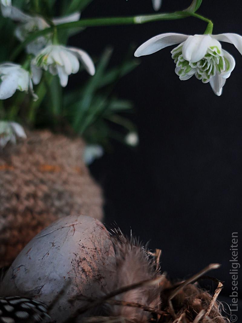 kleiner Osterkorb und gefülltes Schneeglöckchen