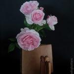 Rose Giardina in Holzvase und Menschliches Stimmungsbarometer