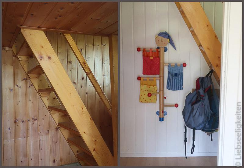 Treppenaufgang vorher und nachher - Holzpaneele weiß gestrichen