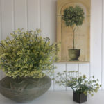 Blühender Brokkoli und Fenchelblüten in der Vase