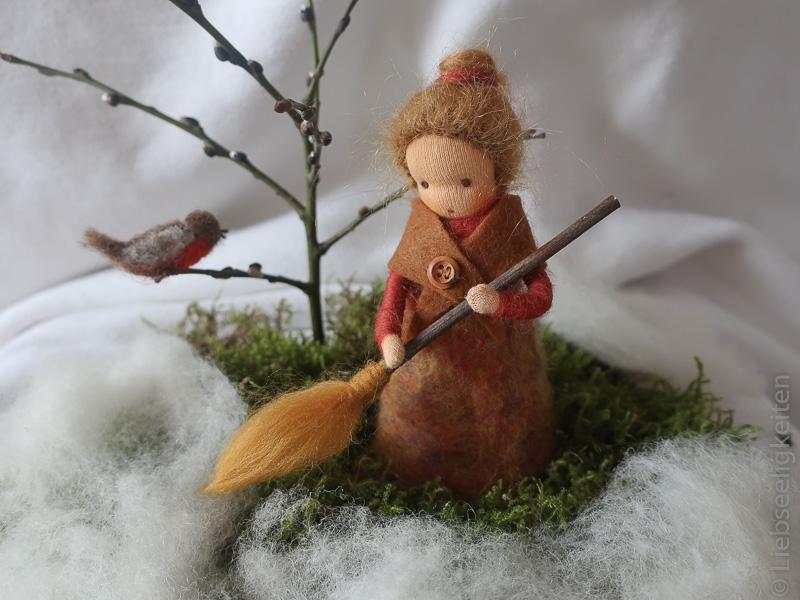 Mütterchen Tau - Jahreszeitentisch im Februar - gefilzt - Märchenwolle