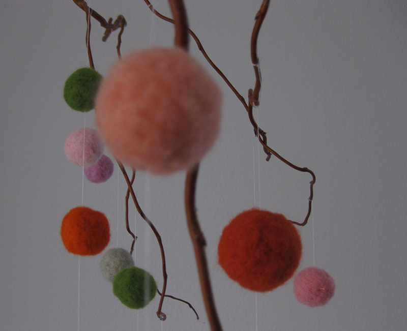 Großaufnahme Filzkugeln aus Märchenwolle