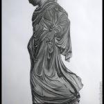 Bleistiftzeichnung - Schreitende Athena