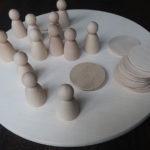 Material für einen Jahreskreis -Figurenkegel - Holzscheiben - Schinkenteller